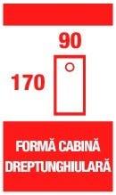 Forma cabina dreptunghiulara 170x90cm