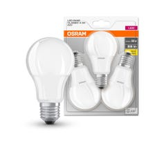 Set 3 becuri LED, E27, 60W, 2700K, sticla, model A60 • Osram Base Classic