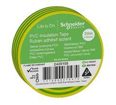 Banda izolatoare PVC, 19mmX20m, galben/verde • Schneider Electric