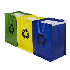Saci reciclabili pentru gunoi menajer, culoare albastru, verde si galben
