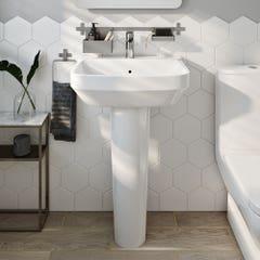 Lavoar patrat, alb, 56 cm, montare pe perete • GoodHome Teesta