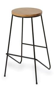 Scaun bar Maloux, cadru metalic si sezut din lemn, 40 x 40 x 70 cm, culoare stejar