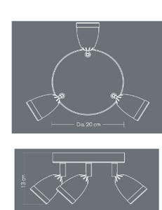 Plafoniera LED, crom, 3 x 105 W, GU10, 240 V, metal • Apheliotes