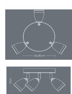 Plafoniera LED, argintie, 3 x 105 W, GU10, 240 V, metal • Apheliotes