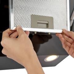 Hota cu design inclinat Deco, 60 cm, sticla neagra, filtru pentru grasime din aluminiu