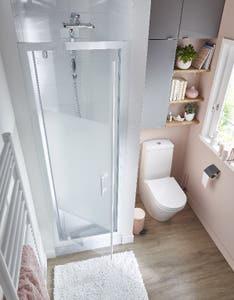 Usa dus pivotanta, aluminiu si sticla, alb, 70 x 190 cm • Good Home Onega