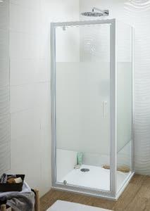Usa dus pivotanta, aluminiu si sticla, alb, 80 x 190 cm • Good Home Onega