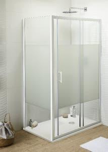 Usa dus culisanta, aluminiu si sticla, alb, 120 x 190 cm • Good Home Onega