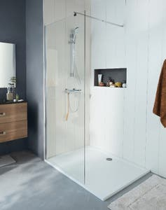 Paravan dus walk-in, aluminiu si sticla, cromat, 90 x 195 cm • Good Home Onega