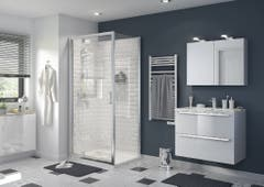 Usa dus pivotanta, aluminiu si sticla, cromat, 100 x 195 cm, garantie 10 ani • Good Home Beloya