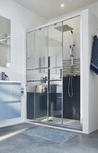 Usa dus culisanta, aluminiu si sticla, cromat, 140 x 195 cm, garantie 10 ani • Good Home Beloya