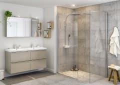 Paravan dus walk-in, aluminiu si sticla, cromat, 87.5 x 195 cm, garantie 10 ani • Good Home Beloya