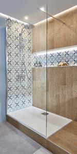 Paravan dus walk-in, aluminiu si sticla, cromat, 127.5 x 195 cm, garantie 10 ani • Good Home Beloya_100266250