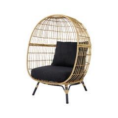 Fotoliu de gradina Egg Chair, maro, ratan, 110 x 114 x 151 cm • Good Home Apolima