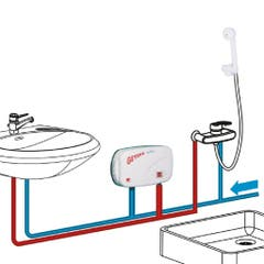 Incalzitor instant de apa Geyser, dus si chiuveta, In-line, 5000 W