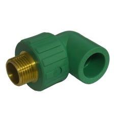 Cot PPR verde, 25 mm, racord 3/4, filet exterior, PN20 SDR6