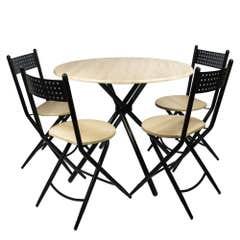 Set Masa  si 4 scaune pliabile Kaliope, masa:90 x 90 x 77cm,scaun: 41.5x47,5x84.5cm