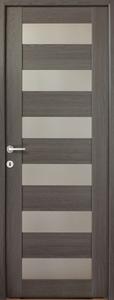 Usa de interior reversibila, antracit, geam A6, 203 x 68 cm • Cerna