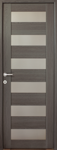 Usa de interior reversibila, antracit, geam A6, 203 x 88 cm • Cerna
