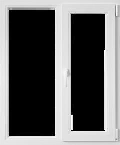 Fereastra PVC, alb, 4 camere, 116 x 116 cm, deschidere dubla dreapta