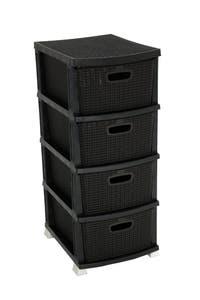 Dulap plastic, 4 sertare, impletit, negru, 46 x 37.5 x 91 cm