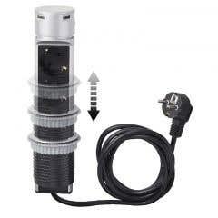 Prelungitor pop-up cu 3 prize diametru 60 mm 13 a /16 a cablu de 2 m h05vvf 3g1,5 mm1