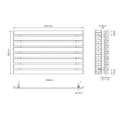 Radiator orizontal, otel, 605 W, 1000 x 620 x 65 mm, gri • Good Home