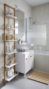 Etajera baie, alb, 40.5 x 190 x 20 cm • GoodHome Nantua