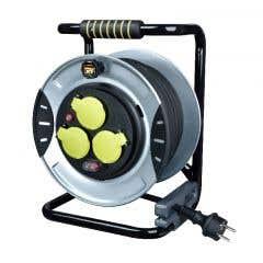 Prelungitor pe tambur din cauciuc utilizare intensa 4 prize, 25 m, negru/gri