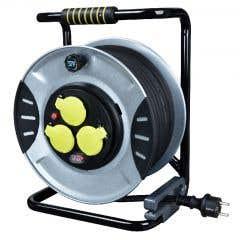 Prelungitor pe tambur din cauciuc utilizare intensa 4 prize, 40 m negru/gri