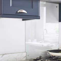 Panou bucatarie, alb, termorezistent, 60 x 80 x 5 mm, sticla • GoodHome Nashi