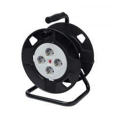 Prelungitor cablu cu tambur fara cablu 4 prize, 16A capacitate 40 m negru/gri