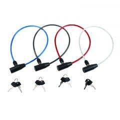 Cablu antifurt, 2 chei, colorat, 550 mm, otel