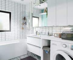 Dulap suspendat cu oglinda, alb, 90 x 100 x 15 cm - Imandra