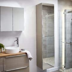 Dulap suspendat cu oglinda, gri-maro , 90 x 40 x 36 cm - Imandra