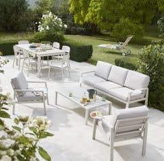 Set mobilier aluminiu 4 piese, crem • Santorin