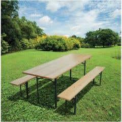 Set mobilier berarie, masa + 2 banci, 70 x 200 cm, maro