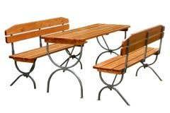 Set mobilier berarie cu spatar, masa + 2 banci, maro • Linz