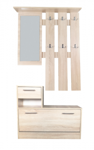 Kit mobilier hol, alb, model stejar - Filio