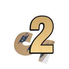 Cifra 2, ABS, Gravat, Auriu, M6 • Creative Sign
