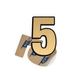 Cifra 5, ABS, Gravat, Auriu, M6 • Creative Sign
