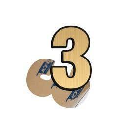 Cifra, 3 ABS, Gravat, Auriu, M6 • Creative Sign