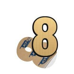 Cifra 8, ABS, Gravat, Auriu, M6 • Creative Sign