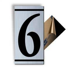 Cifra 6, ABS, Gravat, Argintiu, M7 • Creative Sign