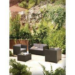 Set mobilier gradina, masa + 2 fotolii + canapea, gri • Blooma Diva