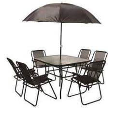 Set mobilier gradina, masa + 6 scaune + 1 umbrela, negru • HD Sunshine